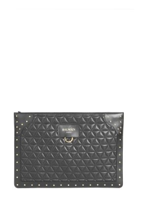 Balmain mini domaine studded & quilted leather convertible clutch