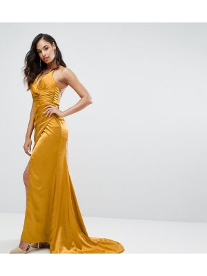 Bariano Drape Satin Gown With Strappy Back