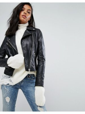 Barney's Originals Leather Jacket With Quilted Detail