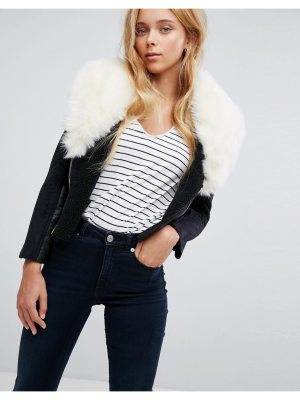 Barney's Originals faux shearling coat with deep faux fur collar