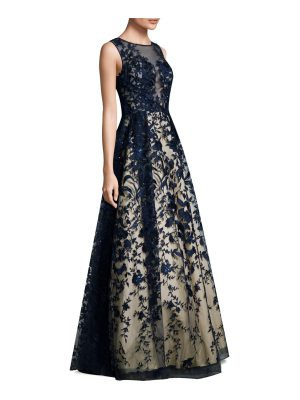 Basix Black Label embroidered overlay floor-length gown