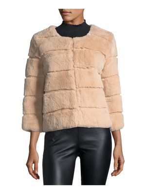 Belle Fare Hook-Front Rabbit Fur Jacket