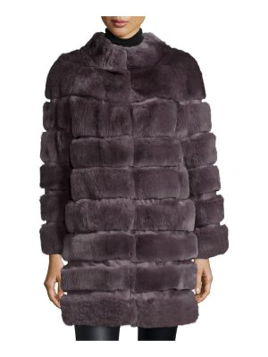 Belle Fare Horizontal Ribbed Rex Rabbit Fur Coat