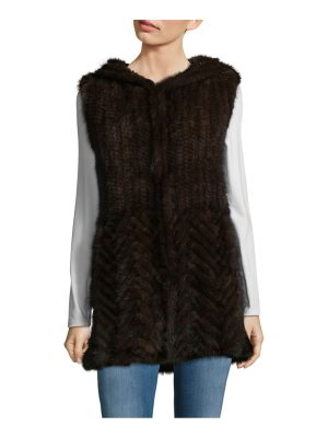 Belle Fare Knitted Mink Fur Hooded Vest