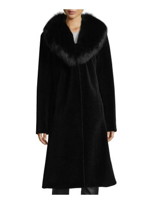 Belle Fare Long Single-Button Sheep Fur Coat w/ Fox Collar