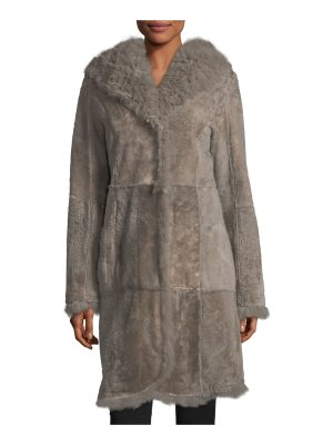 Belle Fare Reversible Fitted Lamb Shearling Long Coat w/ Oversized Hood