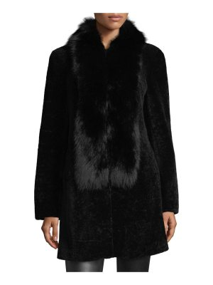 Belle Fare Shearling Coat w/Fox Fur Trim
