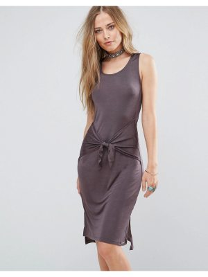 Bellfield Lizase Tie Front Split Side Midi Dress