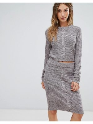 Bellfield orta rib and cable mix knit sweater top