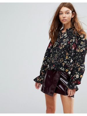 Bershka Ditsy Floral High Neck Boho Blouse