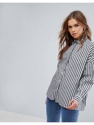 Bershka Striped Shirt With Ring Detail