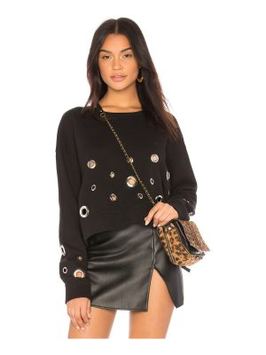 Black Orchid Cropped Sweatshirt With Eyelets