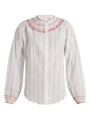 BLISS AND MISCHIEF Smocked pinstriped cotton blouse