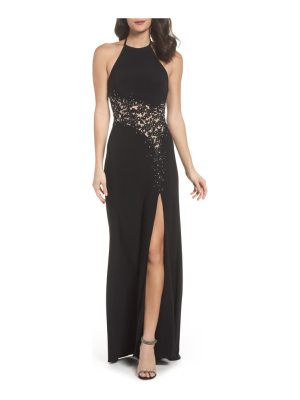 Blondie Nites illusion lace gown