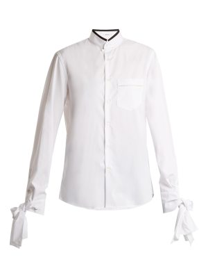 BLOUSE Svet knot-detail cotton-poplin shirt