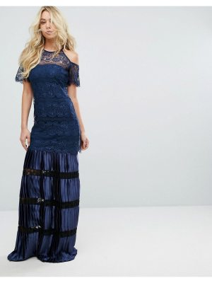 Body Frock Bodyfrock Cold Shoulder Lace Maxi Dress With Pleated Skirt