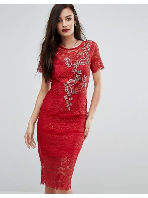 Body Frock Bodyfrock Lace Bodycon Dress with Floral Applique