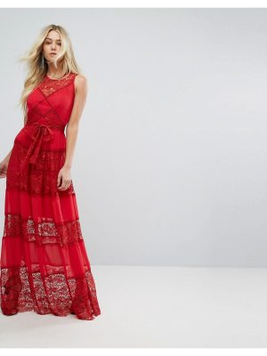 Body Frock Bodyfrock Tiered Lace Maxi Dress With Tie Belt