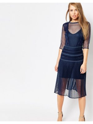 Body Frock Louisa Sculpting Dress with Pleat Skirt and Lace