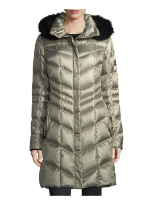 Bogner Fire + Ice Delia Shiny Hooded Quilted Puffer Coat w/ Fox Fur
