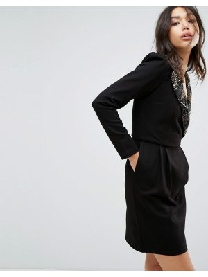 Bolongaro Trevor Embellished Collar 80's Dress