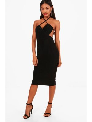 Boohoo Wrap Open Back Detail Midi Dress