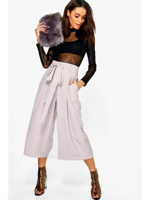 Boohoo Pleated Waist Wide Leg Culottes