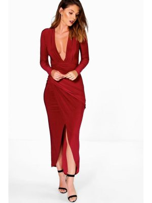 Boohoo Plunge Rouched Detail Maxi Dress