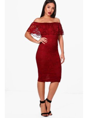 Boohoo Scallop Lace Off the Shoulder Midi Dress