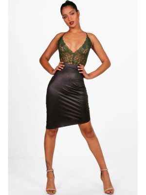 Boohoo Beth Rouched Side Wet Look Midi Skirt