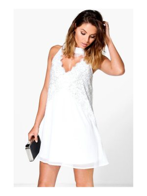 Boohoo Boutique High Neck Lace Front Swing Dress