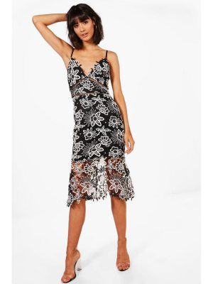 Boohoo Boutique Floral Lace Back Midi Dress