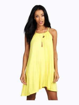Boohoo Tie Neck Swing Dress