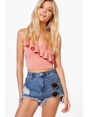 Boohoo Cut Out Hem Fray Denim Mom Shorts