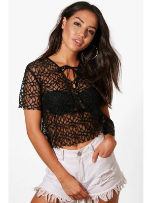 Boohoo Ellie Lace Up Beach Top