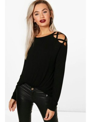 Boohoo Long Sleeve Strap Shoulder Tee