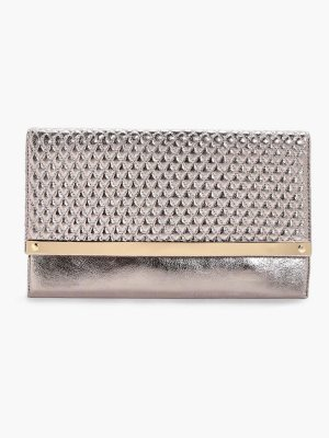 Boohoo Emma Quilted Metal Bar Clutch Bag
