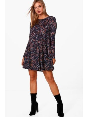 Boohoo Paisley Brushed Knit Swing Dress