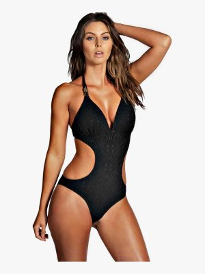 Boohoo Crochet Cut Out Swimsuit