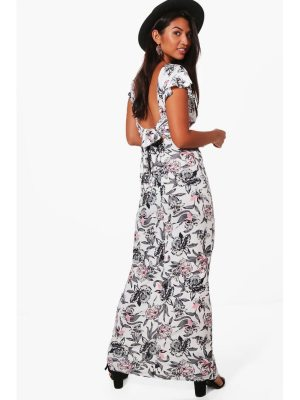 Boohoo Frill Sleeve Backless Floral Maxi Dress