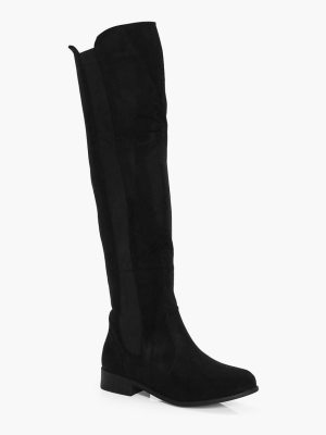 Boohoo Flat Knee High Boots