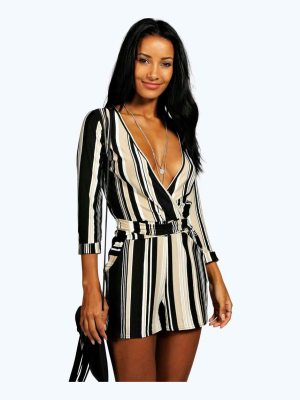 Boohoo Striped Relaxed Self Belt Romper