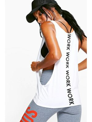 Boohoo Fit Work Slogan Running tank