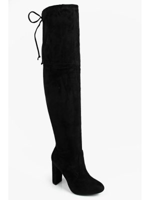 449dc1fb84bb Boohoo Block Heel Lace Up Back Thigh High Boots