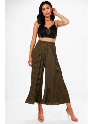 Boohoo Pleated Wide Leg Culottes