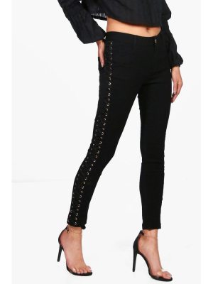 Boohoo Robert Side Lace Up Skinny Jeans