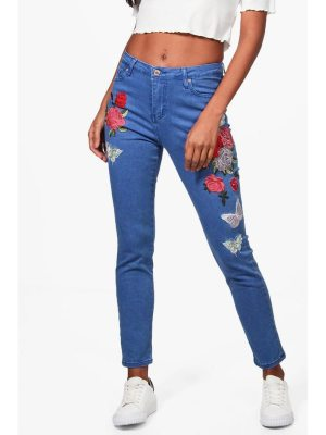 Boohoo Sarah High Rise Heavy Embroidered Skinny Jeans