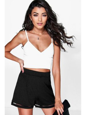 Boohoo Sophie Ladder Trim High Waist Shorts