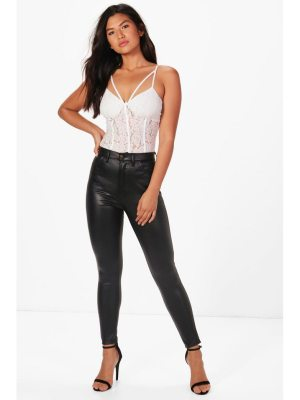 Boohoo High Waist Leather Look Pants
