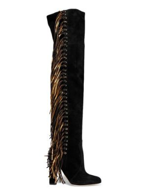 Brian Atwood horsy metallic fringed suede over-the